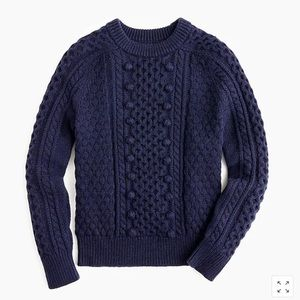 J. Crew Popcorn Cable Knit Sweater Navy Blue M NWT